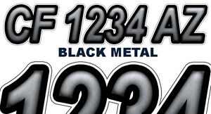 Blk Metal Boat Registration Numbers Pwc Decals Stickers