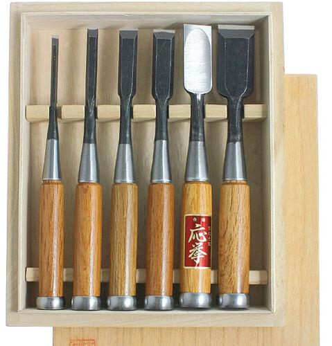 Oire nomi japonais Bench ciseau ensemble charpentiers burins 6pc fixé dans boîte en bois