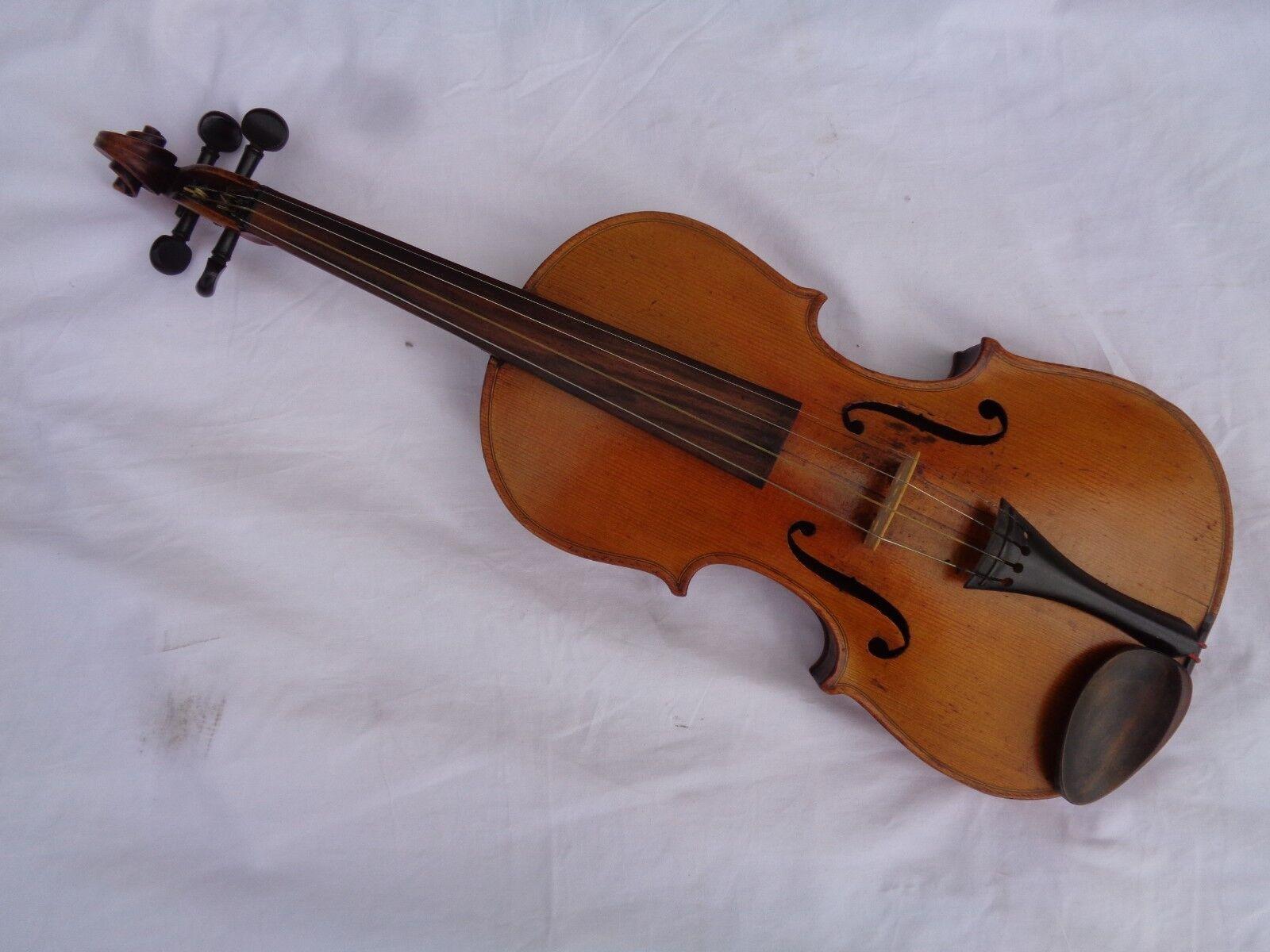 Alte Geige Violine Full Größe ca 59,5 cm Stempel J. Rudolph Gotha + 2 Zettel