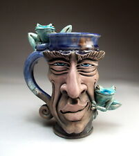 Seductive Face Mug jug pottery frog folk art sculpture by Mitchell Grafton
