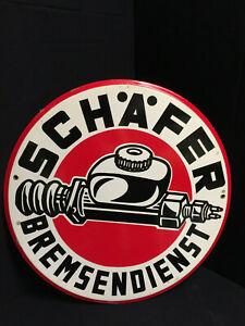 Schafer-Bremsendienst-Cartel-Esmaltado-VW-Taller-Um-1955-en-Perfecto-Estado