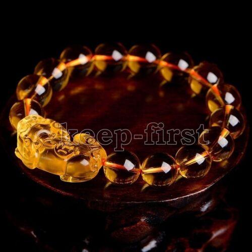 10//12//14mm Feng Shui Yellow Topaz Citrine Pi Yao Pi xiu xie Bracelet For Wealth