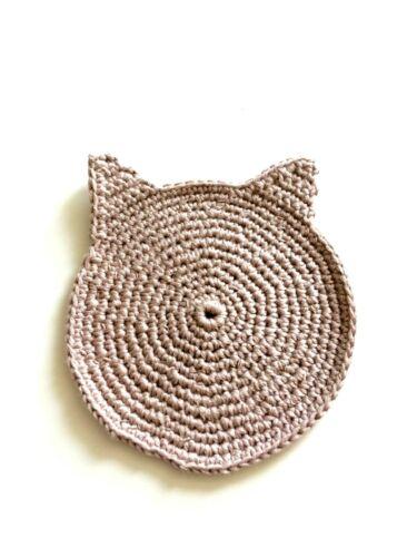 Handmade Cat Face Crochet Coaster en Pur Coton Nouveauté Drôle Cadeau