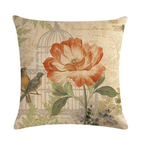 Bird Style Linen Pillow Case Sofa Waist Throw Cushion Cover Home Decor Gift