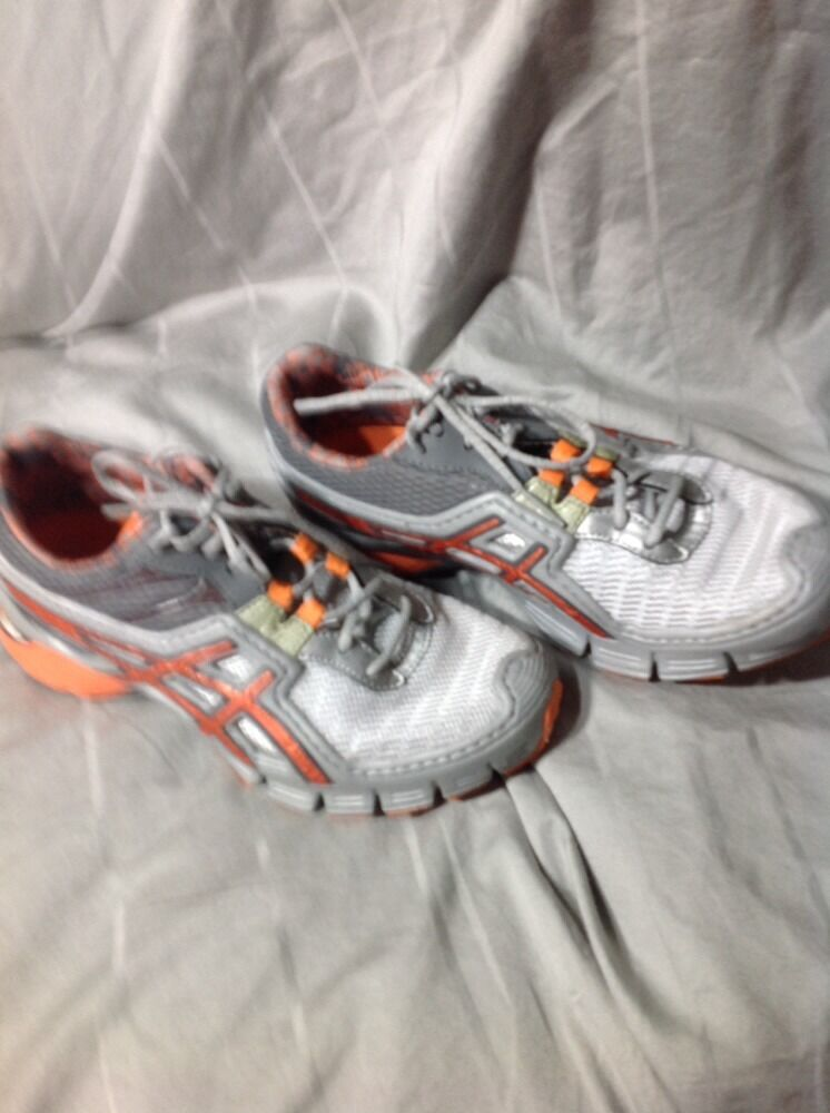 Asics Gel Authentic Upstart Womens Size 6 Grey Orange Authentic Gel Athletic Shoes Euc 78b591