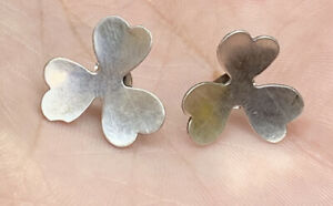 Vintage-Sterling-Silver-925-Irish-Three-Leaf-Clover-Post-Pierced-Earrings