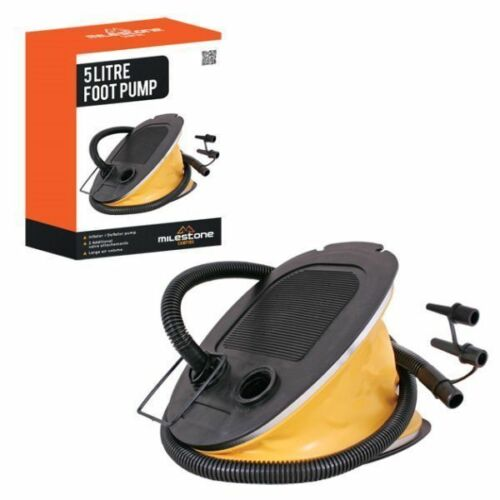 Milestone Camping Foot Pump -yellow 5 Litres for Airbeds and Inflatables