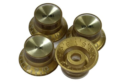 Bell Hat Knobs Gold Reflector for Gibson USA 4pk
