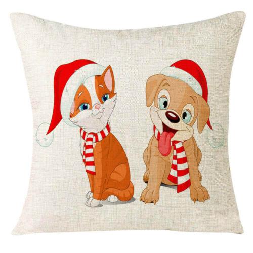 Xmas Christmas Animal Festival Pillow Case Cushion Cover Sofa Home Decorations