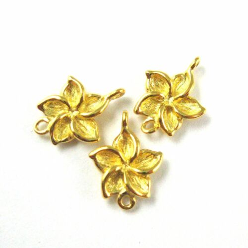 11mm 925 Gold Vermeil Flower Charm-Fragapani Flower-Gold Link Connector 3 pc
