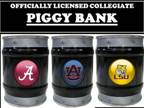 COLLEGE PIGGY BANK-COLLEGE LOGO PIGGY BANK-COLLEGE BARRELL CAN  BANK-SCHOOLS L-S