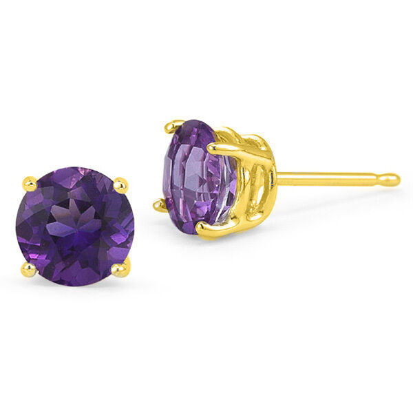 14K SOLID YELLOW GOLD FEBRUARY AMETHYST ROUND CUT STUD EARRINGS PUSH BACK