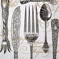 4 Servietten Vintage Shabby Antikes Silberbesteck Messer Gabel Löffel