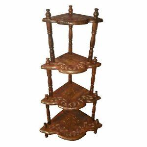 Multipurpose-Use-Wooden-Side-Corner-Rack-With-4-Shelves-Tier-Corner-Stand