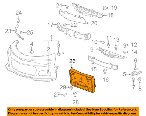 CHEVY CAMARO ZL1 FRONT LICENSE PLATE MOUNTING BRACKET 2018 NEW OEM GM  84059862