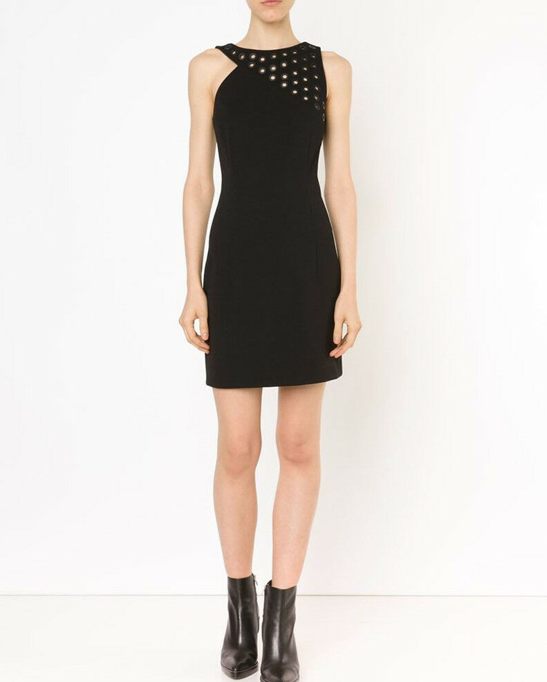 ANTHONY VACCARELLO black ,885 metal eyelet grommet cut-out mini dress 36-F NEW