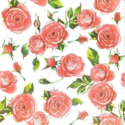 3 x Single Paper Tissues Decoupage Napkins Craft Tissue Red Roses Flowers M418