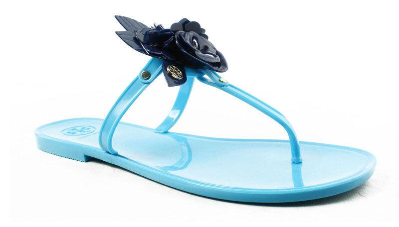 Tory Burch Flor Flor Flor Jalea Sandalias Flip Flop Mar Azul Marino 9  gran descuento