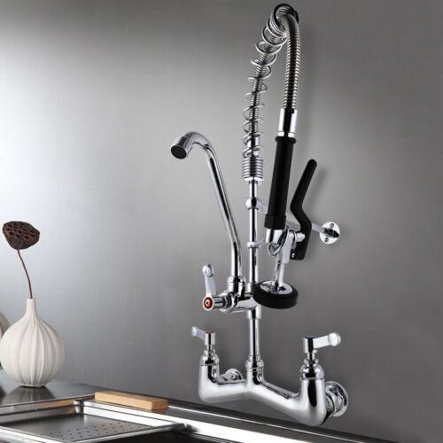"MaxSen Commercial Wall Mount Kitchen Sink Faucet 8/"" Center Pre-rinse Spray Gun"