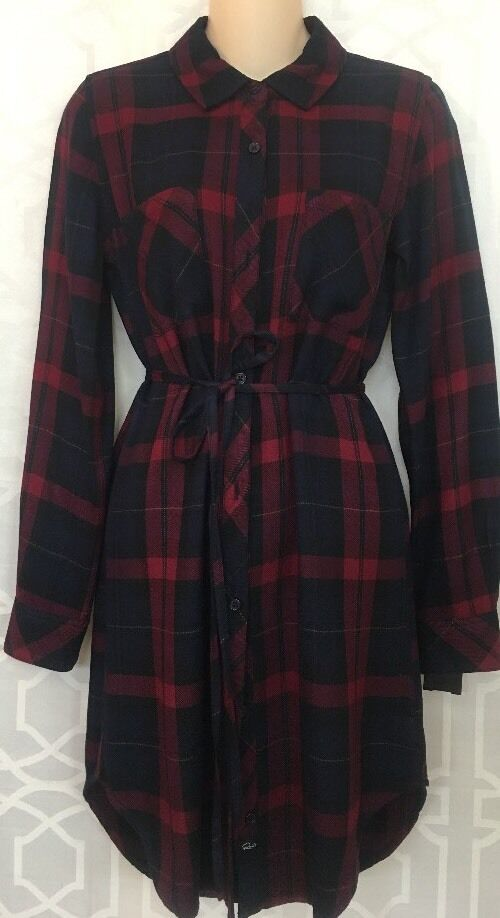 Rails Dress Red Plaid Long Sleeve Size Xs NWT