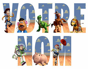 STICKER-AUTOCOLLANT-TOY-STORY-PERSONNALISABLE-NOM-3-TAILLES