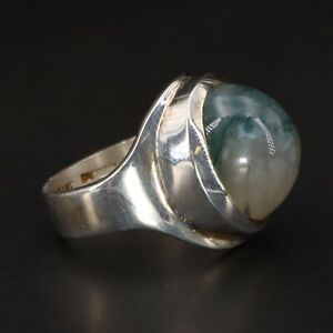 Moss Agate Sterling Silver Statement Ring