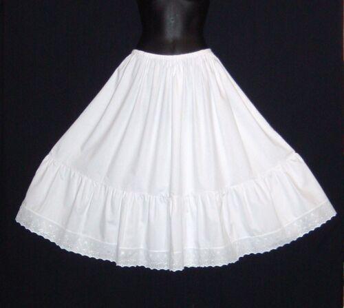 "PLUS size White Crisp Cotton petticoat lengths 23/""-40/"" knee to floor length"