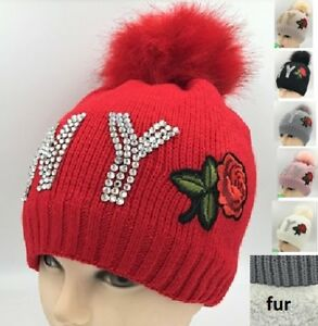 63bd761da2a Warm Winter Ski Beanie Hat Fur Pom Pom Bling Crystal Studded NY Rose ...