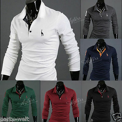 Fashion Men's Stylish Long Sleeve Slim Fit Tops Casual Tee Polo Shirt Blouse PW