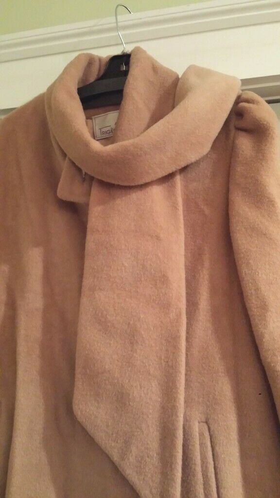 Vintage Trigere Camel Wool Long Coat with Scarf -… - image 3
