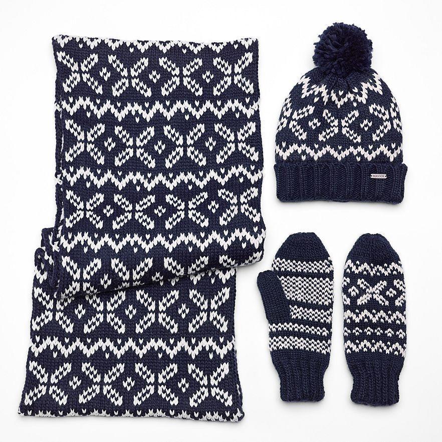 Igloos Snowflake Mittens Infinity Scarf & Beanie Hat 3 piece Set Black Iris