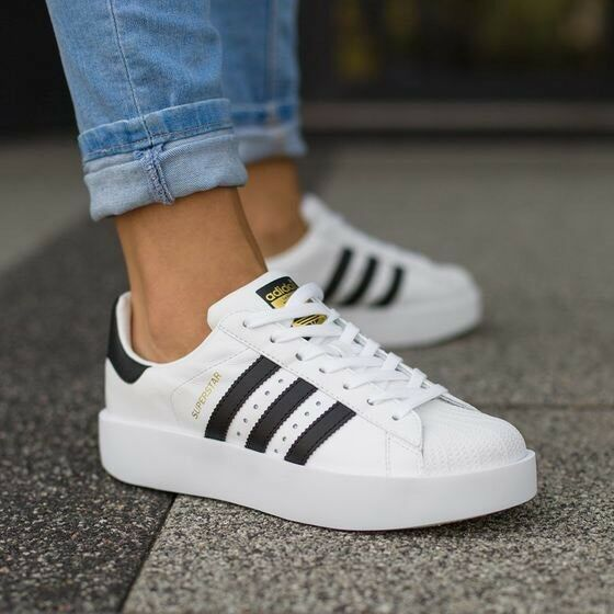 1801 ADIDAS ORIGINALS SUPERSTAR BOLD BA7666 PLATFORM SHOES WHITE BLACK