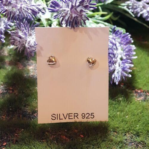 Women/'s 925 Sterling Silver One Heart Earring Handmade Jewelry Stud Earrings