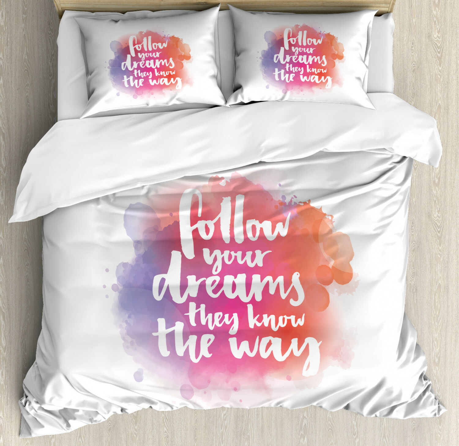 Motivational Duvet Cover Set with Pillow Shams Life and Dreams Print