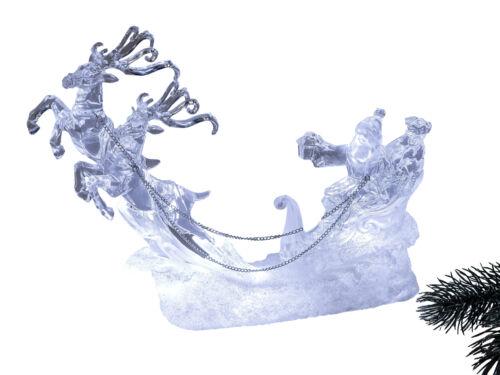 Beleuchter LED Santa mit Rentieren aus Acryl mit Wasser gefüllt Länge 24 cm