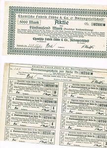 Chemische-Fabrik-Luebbe-amp-Co-AG-Hamburg-1924-5000-Mark-ungelocht-Kupons-sel