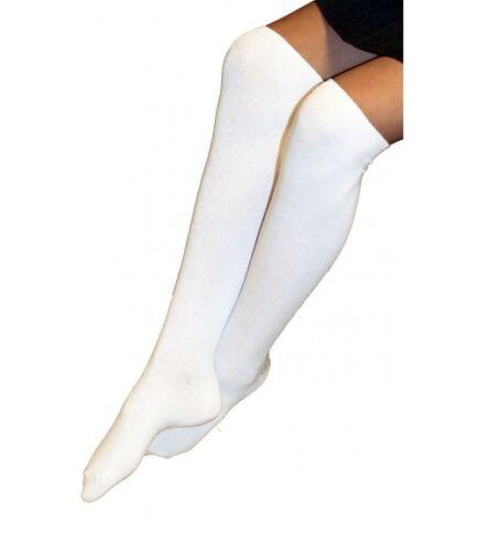 Ladies Girls Knee High Back To School Socks White 1 Pair 2,3 Pairs Size 6-12 New
