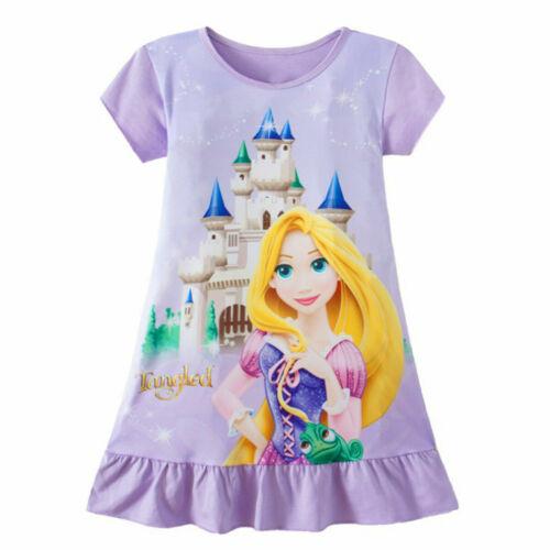 Toddler Kids Baby Girls Rapunzel Belle Aurora Princess Print Summer Party Dress