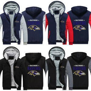 Baltimore Ravens Football HOODIE men JACKET FULL ZIP up Sweatshirts warm coat
