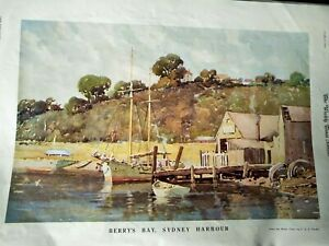 BERRY-039-S-BAY-SYDNEY-HARBOUR-WATER-COLOUR-PRINT-1934-SIGNED-C-E-S-TINDALL-1933-ART