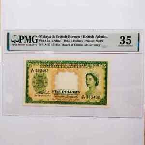 Straits Settlements Malaya 1953 QEII 5 dollars choice VF PMG 35