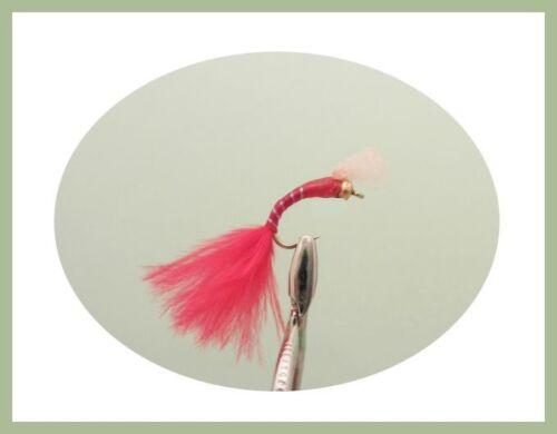 per pesca a mosca Blood Worm Trota Pesca Mosche confezione da 18 TIPI MISTI e le taglie