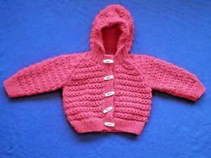 15c7cfd58 Hand Knitted Baby Cardigan with hood in red. 3-6 Months.
