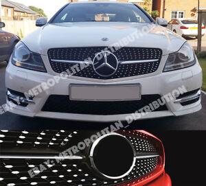 Mercedes-C-w204-c204-a204-saloon-coupe-estate-diamonds-AMG-grille-C63-look-BLACK