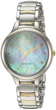 Citizen L Mother of Pearl Dial Ladies Two Tone Watch Item No. Em0554-58n