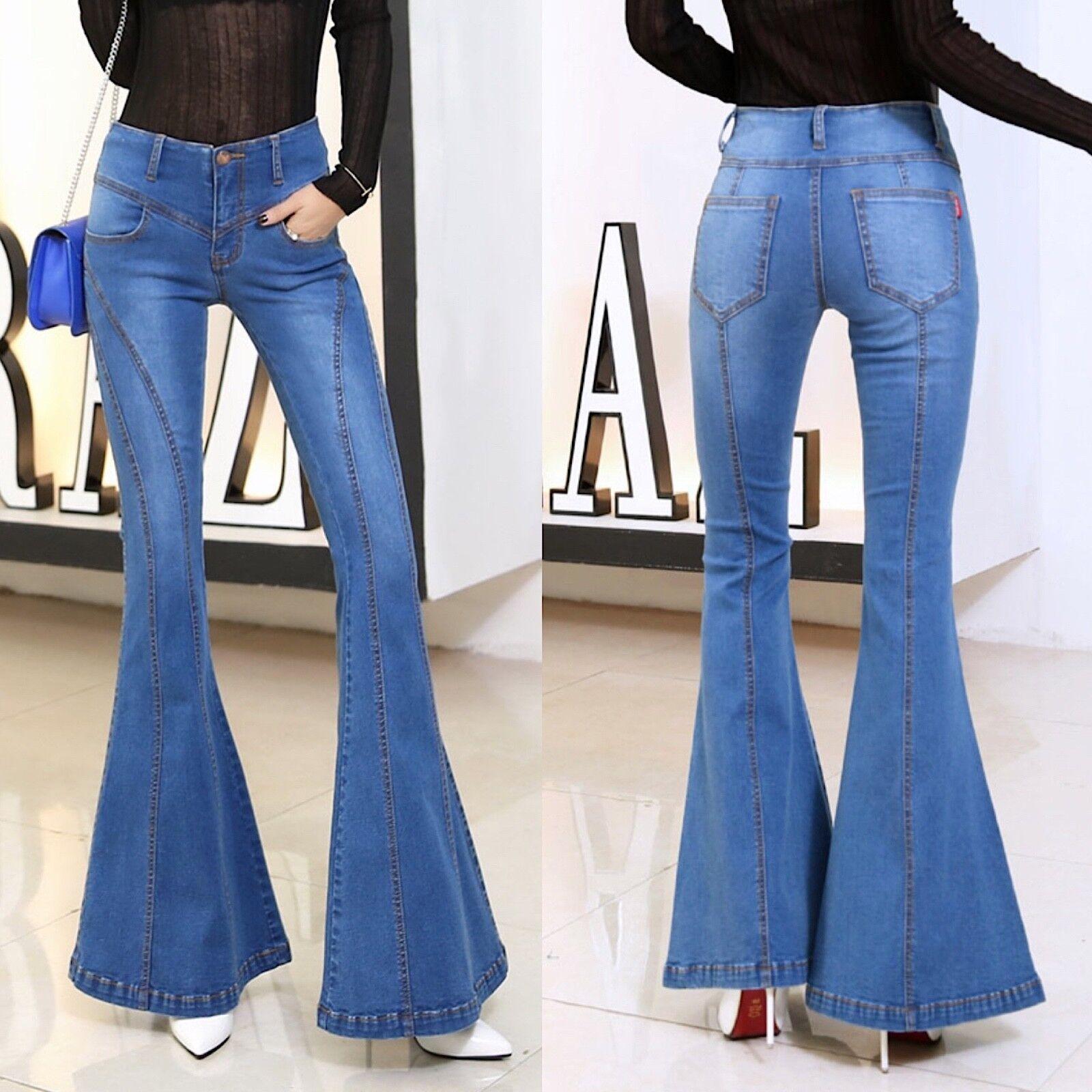 Jeans femmes Pantaloni a Zampa Larghi Sotto femme Denim Jeans JEA012 P