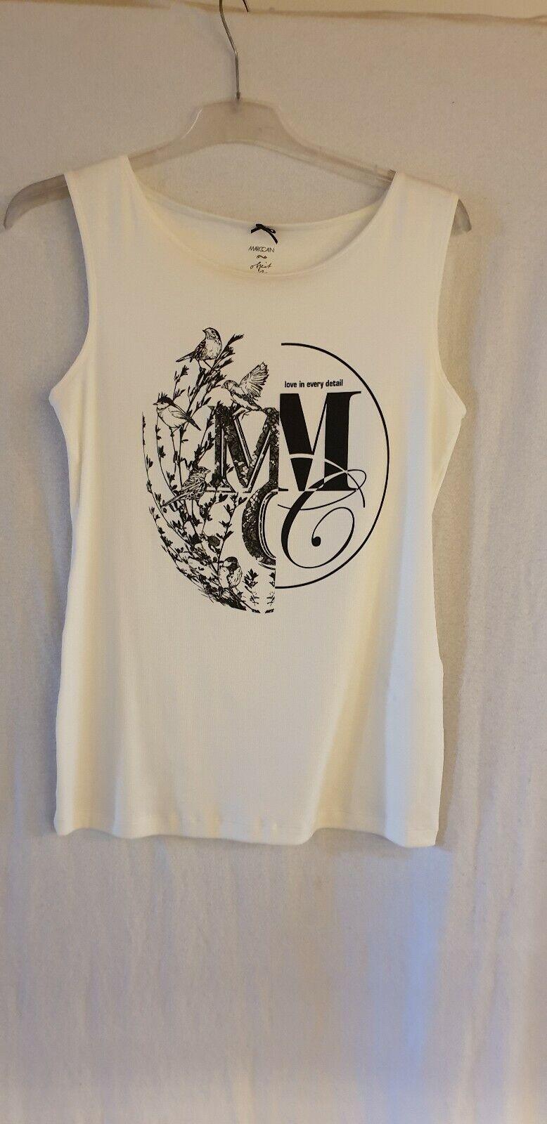 Marc Cain Cain Cain Top Weiß Mit Schwarzer Grafik Größe 42  N5   Erste in seiner Klasse    Abrechnungspreis    Helle Farben  e106aa