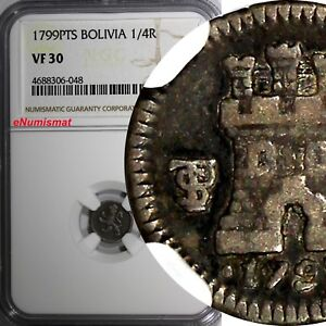 Bolivia-Carlos-IV-Silver-1799-PTS-1-4-Real-NGC-VF30-Rampart-lion-Castle-KM-82