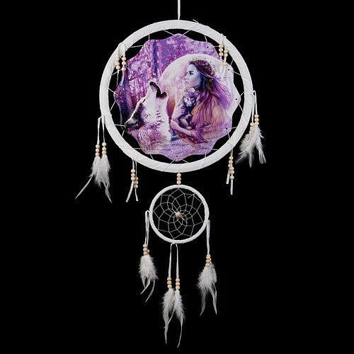"""13/"""" Wolf Beautiful Indian Girl Dream Catcher Wall Hang Feathers Gift Pretty 1381"""
