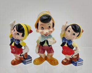 Lot 3 vintage Pinocchio ceramic figurines Japan China Walt Disney Productions